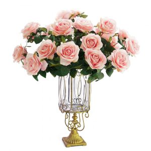 SOGA 38cm Tall Glass Vase - Clear and Gold with Light Pink Artificial Roses
