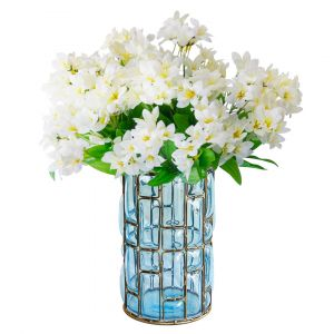 SOGA 23cm Tall Glass Vase - Blue and Gold with White Artificial Lilies