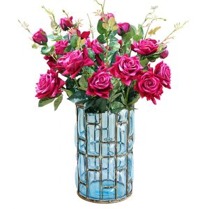 SOGA 23cm Tall Glass Vase - Blue and Gold with Pink Artificial Roses