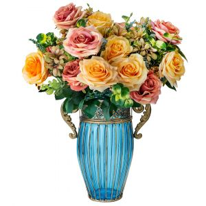 SOGA 27cm Tall Glass Vase - Blue and Gold with Mixed Artificial Roses