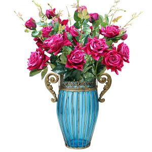 SOGA 27cm Tall Glass Vase - Blue and Gold with Pink Artificial Roses