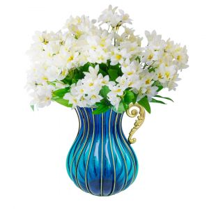 SOGA 29cm Tall Glass Vase - Blue and Gold with White Artificial Lilies