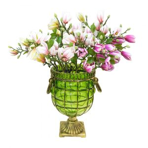 SOGA 27cm Tall Glass Vase - Green and Gold with Purple Artificial Magnolias