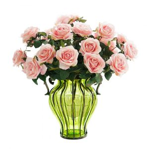SOGA 35cm Tall Glass Vase - Green and Gold with Light Pink Artificial Roses