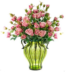 SOGA 35cm Tall Glass Vase - Green and Gold with Pink Artificial Roses